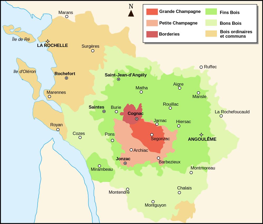 Cognac: Karte der Lagen (wikipedia.org)